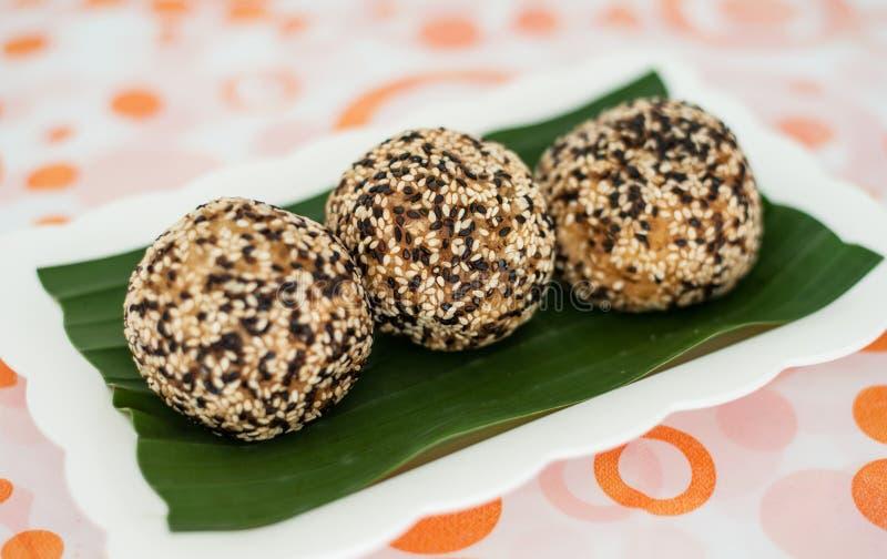 Het Dessert van Thailand, Sesamballen royalty-vrije stock fotografie