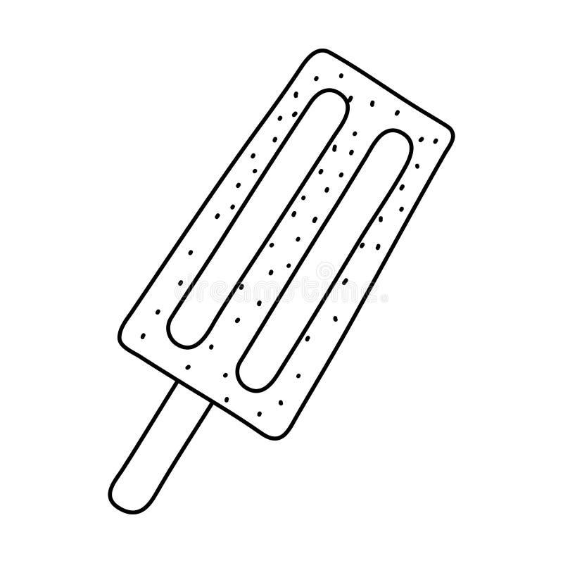 Het dessertbeeldverhaal van de de zomerijslolly fronz in zwart-wit wordt ge?soleerd die stock illustratie