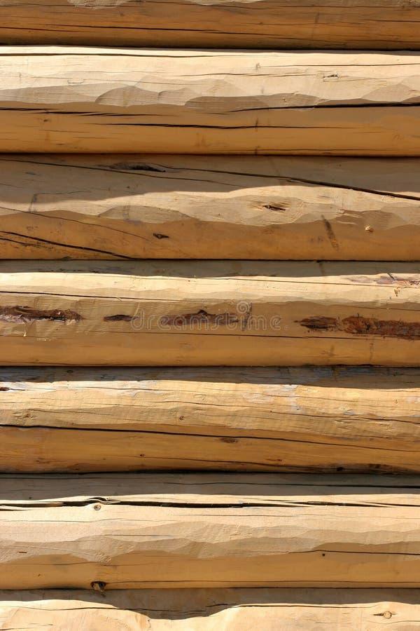 Het detail van de het huismuur van het logboek stock foto