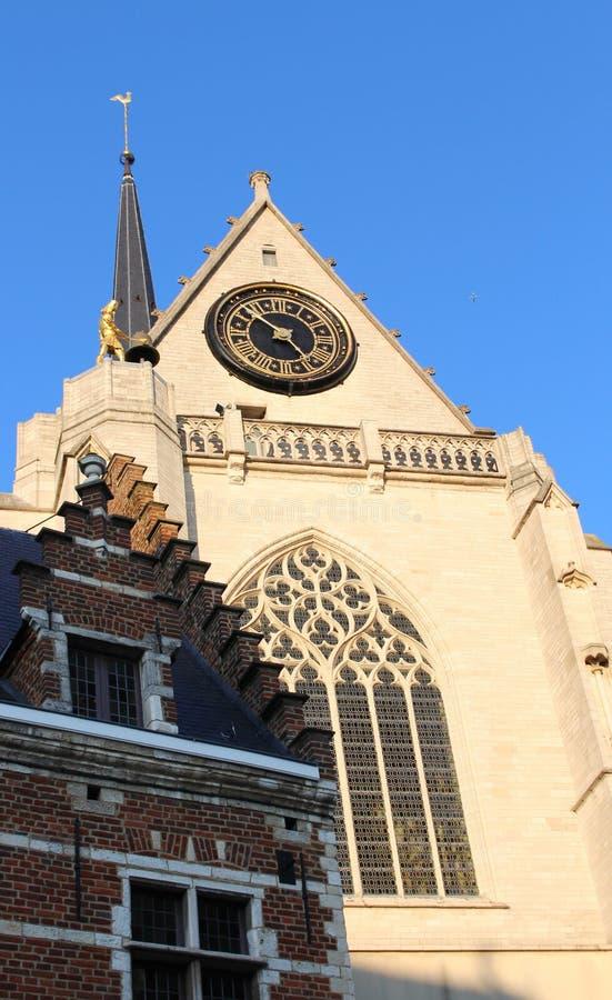 Het detail van de Kerk van Heilige Peter en een baksteen ancien huis op een zonnige dag, Leuven, België royalty-vrije stock afbeelding