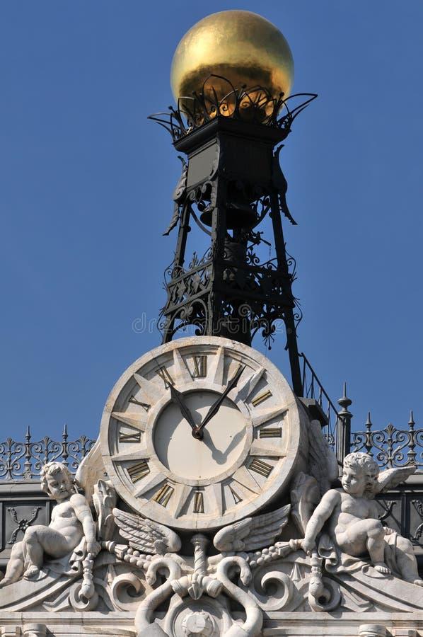 Het detail van de klok bij de bouw royalty-vrije stock fotografie