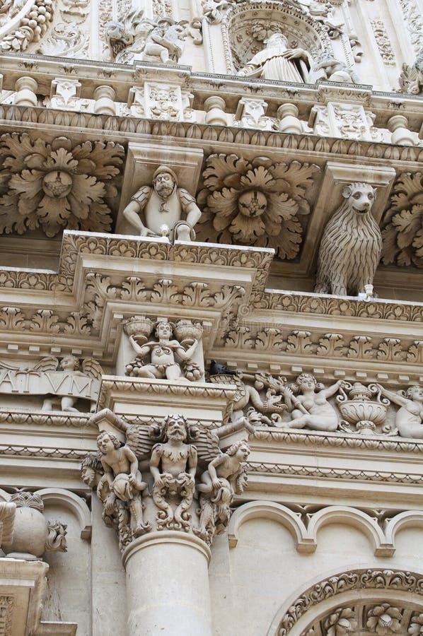 Het detail van de kolom - Basiliek Lecce royalty-vrije stock afbeeldingen
