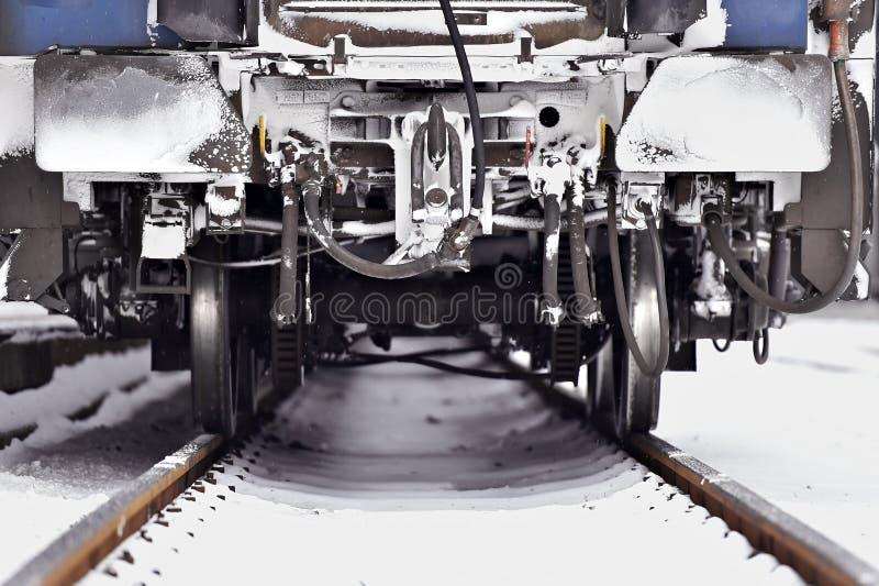 Het detail van de treinwagen in de winter royalty-vrije stock foto