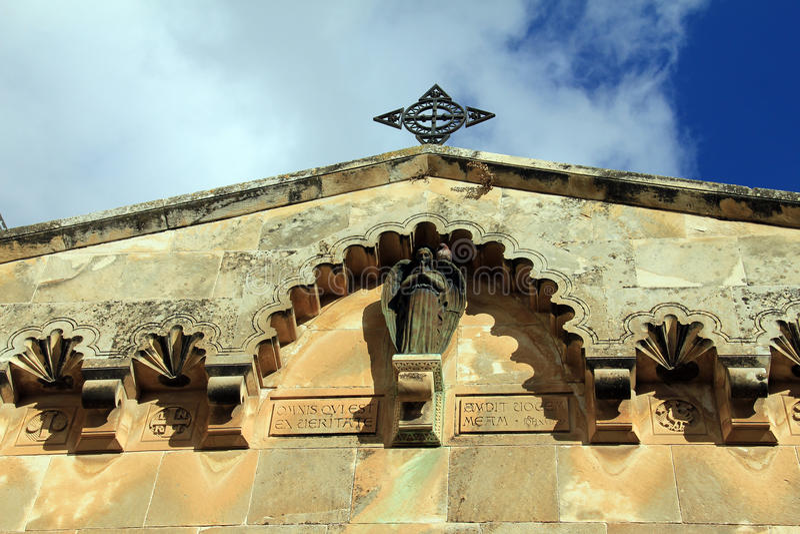 Het detail van Kerk van de Flagellatie en de tweede post houden Jesus Christ via Dolorosa tegen royalty-vrije stock foto