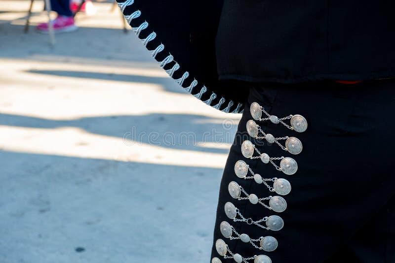 Het detail van mariachi hijgt met ornamenten terwijl het spelen op een stadium royalty-vrije stock foto's