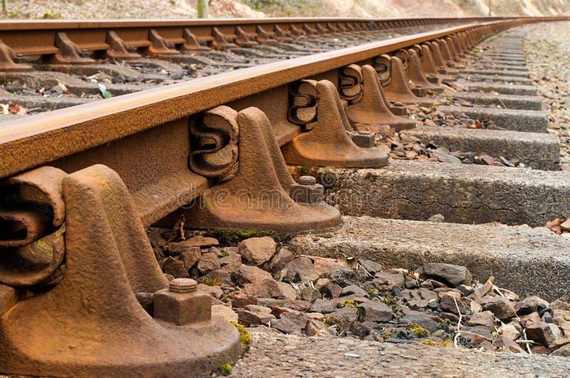 Het detail van treinsporen stock fotografie