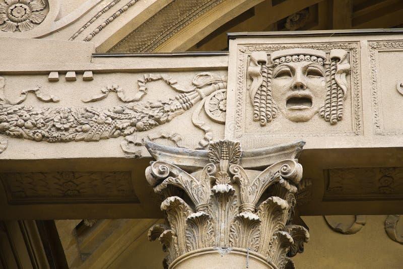 Het detailclose-up van de architectuur van een oud gebouw royalty-vrije stock afbeeldingen