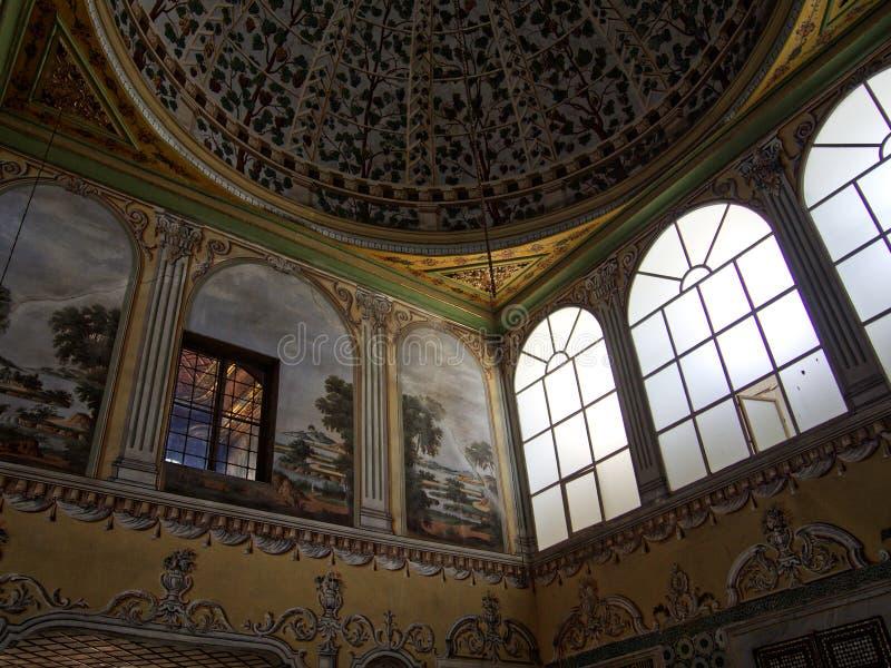 Het detailplafond en vensters van het Topkapipaleis royalty-vrije stock fotografie