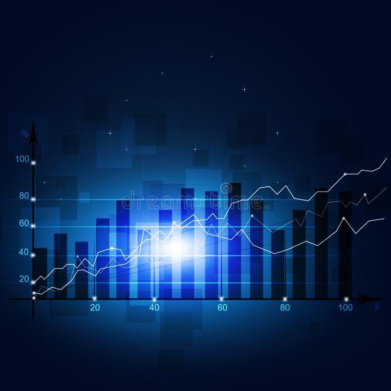 Het Diagram Blauwe Achtergrond van de financiënvoorraad royalty-vrije illustratie