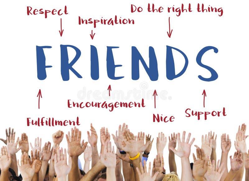 Het Diagram Grafisch Concept van de vriendeninspiratie stock afbeeldingen
