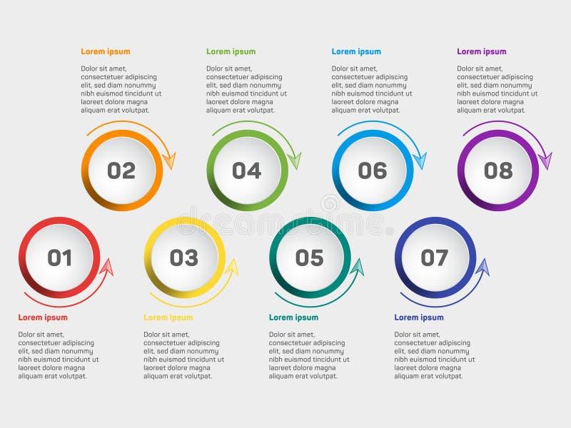 Het diagram van de bedrijfsgegevensvisualisatie Vectormalplaatje van chronologie het infographic pictogrammen, het ontwerp van he stock foto