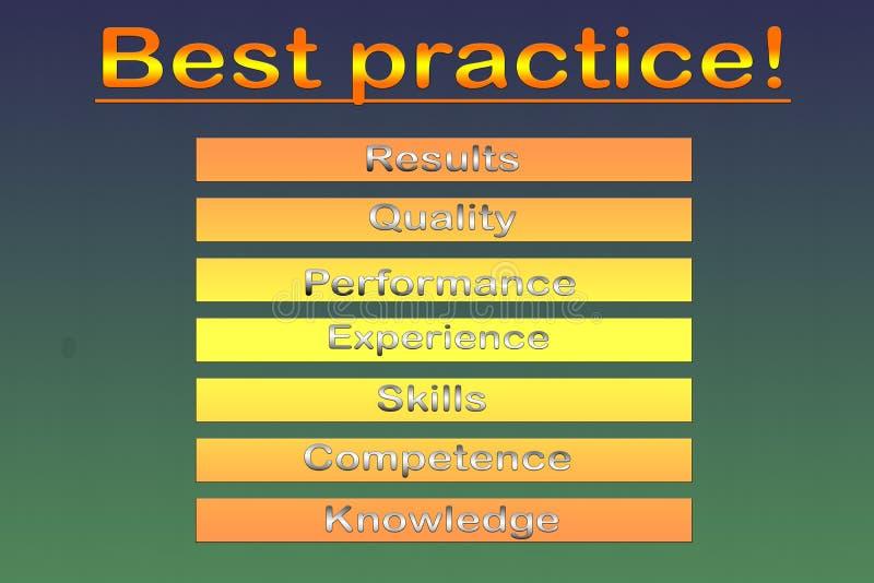 Het diagram van de beste praktijkenbenadering - illustratie stock foto's