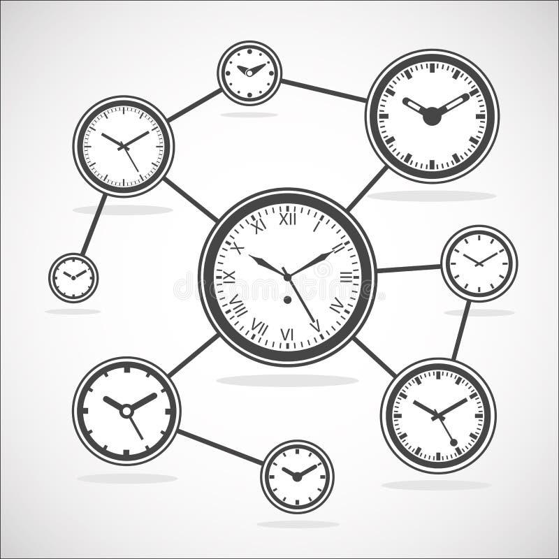 Het diagram van de tijdsynchronisatie - Vectorillustratie royalty-vrije illustratie