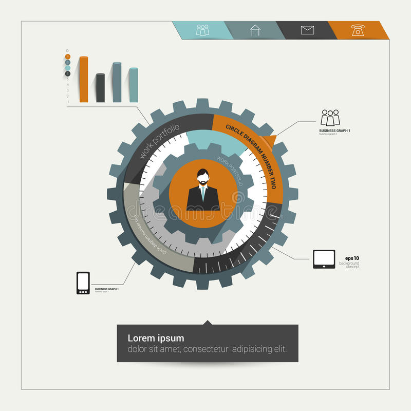 Het diagram van het radertjewiel voor bedrijfsmalplaatje. stock illustratie