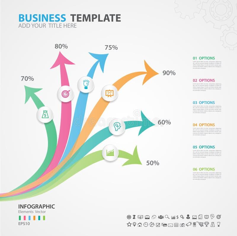 Het diagram van Infographicselementen met 6 stappen, opties, dia, presentatie, grafiek, grafiek, diagram, chronologievector vector illustratie