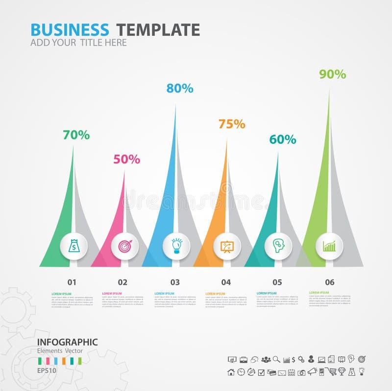 Het diagram van Infographicselementen met 6 stappen, opties, dia, presentatie, grafiek, grafiek, diagram, chronologievector royalty-vrije illustratie