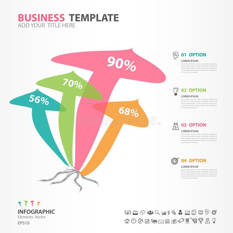 Het diagram van Infographicselementen met 5 stappen, opties, paddestoelpictogram, Webontwerp, presentatie, brengt Vectorillustrat royalty-vrije illustratie