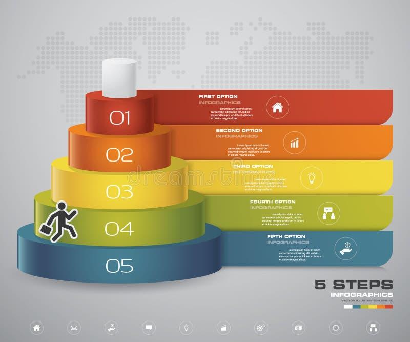 het diagram van 5 stappenlagen Eenvoudig & editable abstract ontwerpelement vector illustratie