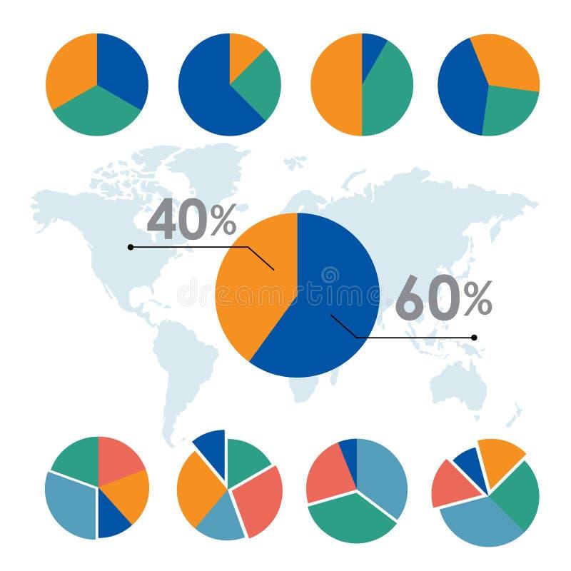 Het diagram van van de bedrijfs cirkeldiagrammencirkel het ontwerpvector elementeninfographic royalty-vrije illustratie