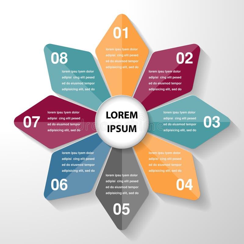 Het diagramgrafiek van het cirkel infographic malplaatje, bedrijfsdelenstappen royalty-vrije illustratie