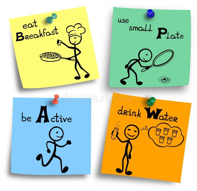 Het dieet tipt grappige illustratie op kleurrijke nota's vector illustratie