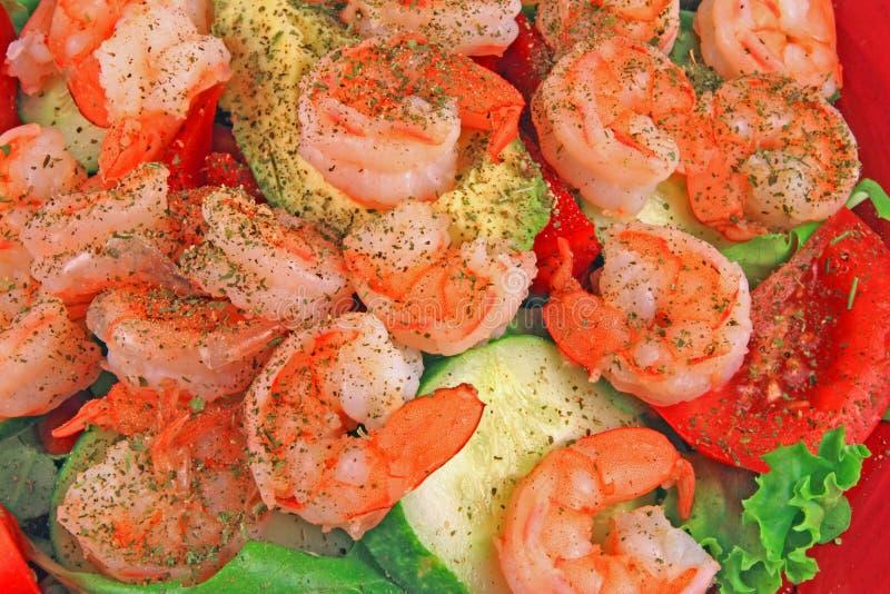 Het Dieet van de Salade van garnalen stock foto's