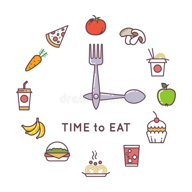 Het dieet vectorconcept van het gewichtsverlies met klok en voedselpictogrammen royalty-vrije illustratie
