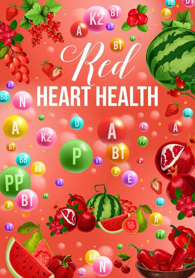 Het dieetaffiche van de Detoxkleur met het rode voedsel van de dagvitamine royalty-vrije illustratie