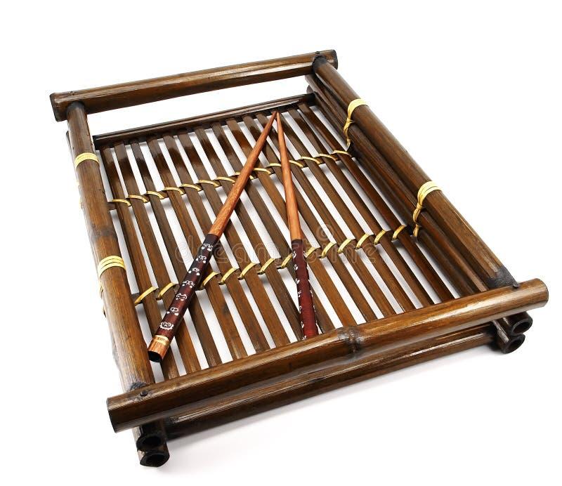 Het dienblad van het bamboe. royalty-vrije stock foto's