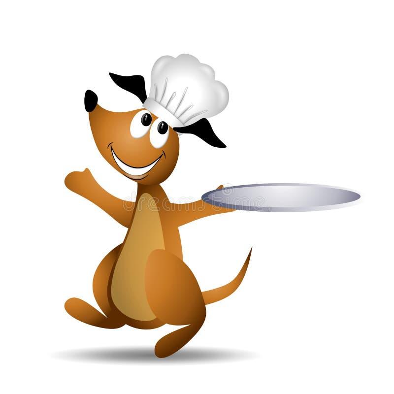 Het Dienende Dienblad van de Hond van de chef-kok stock illustratie