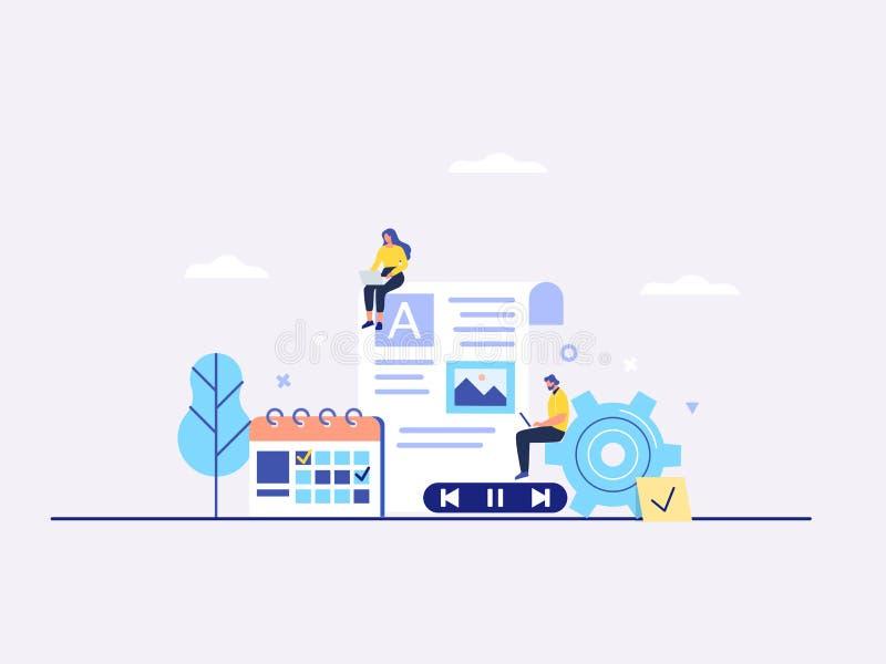 Het in dienst nemen inhoud, het blogging die, media, bevordering in sociaal netwerk vlak vectorconcept plannen vector illustratie