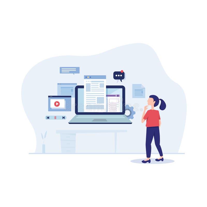 Het in dienst nemen van inhoudsmarketing vectorillustratie bedrijfsconcept mengeling sociale media die vlakke advertentie banner  vector illustratie
