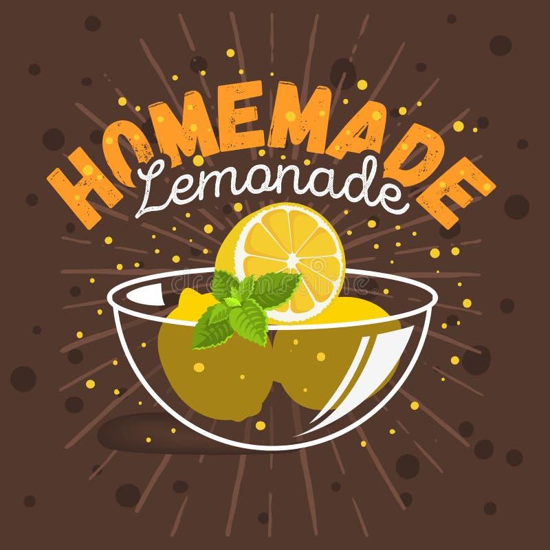 Het Diepe bordschotel van de glaskom met Gesneden Citroenen en van Muntillustraties Voorbereiding voor Eigengemaakte Limonade Gra vector illustratie