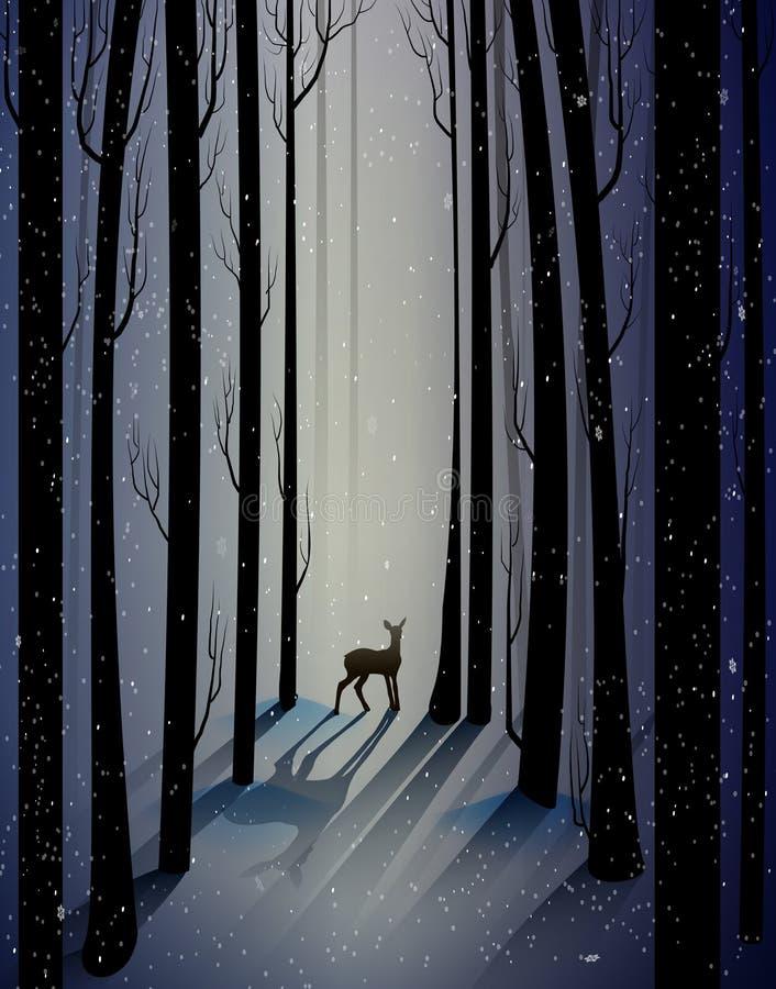 Het diepe bos van de fee ijzige winter met eenzame jonge herten, schaduwen, stock illustratie