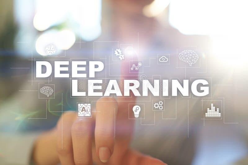 Het diepe machine leren, kunstmatige intelligentie in slimme fabriek of technologieoplossing stock fotografie