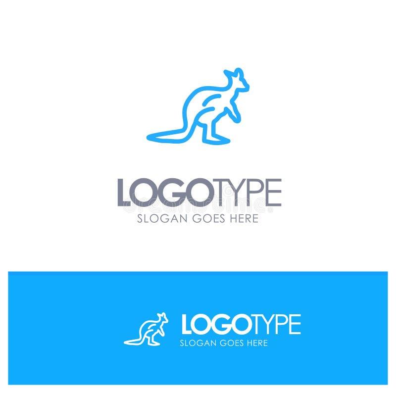 Het dier, Inheems Australië, Australisch, Kangoeroe, reist Blauw Overzicht Logo Place voor Tagline vector illustratie