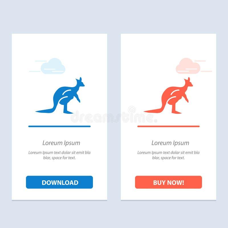 Het dier, Inheems Australië, Australisch, Kangoeroe, reist Blauwe en Rode Download en koopt nu de Kaartmalplaatje van Webwidget royalty-vrije illustratie