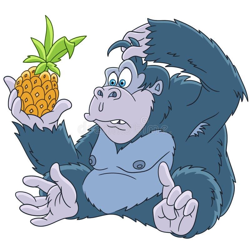 Het dier van de beeldverhaalgorilla vector illustratie