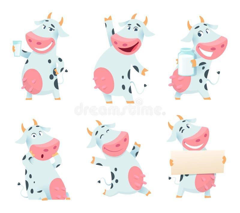 Het dier van de melkkoe Geïsoleerde het karakter etende en stellende koeienmascottes van het beeldverhaallandbouwbedrijf royalty-vrije illustratie