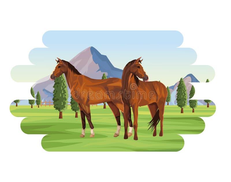 Het dier van het paardenlandbouwbedrijf stock illustratie