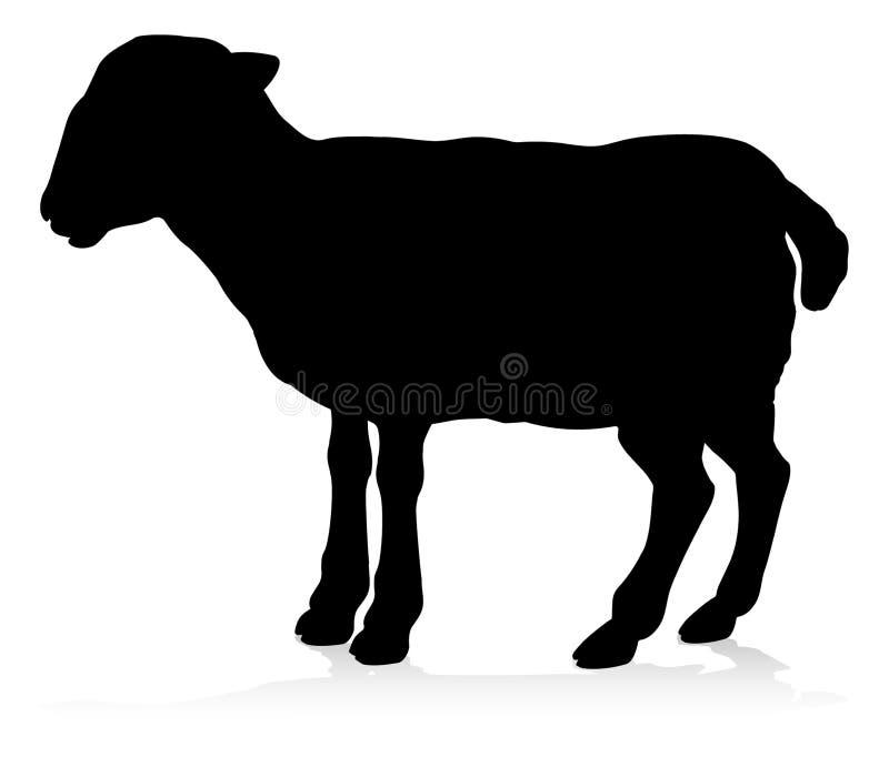 Het Dierensilhouet van het schapenlandbouwbedrijf stock illustratie