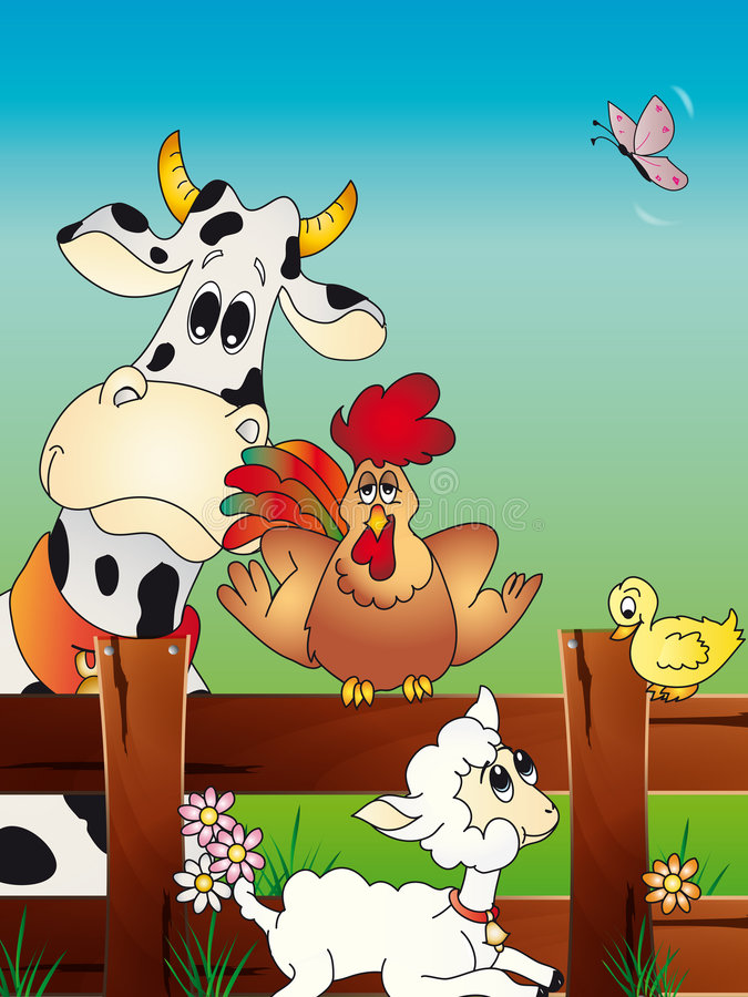 Het dierlijke beeldverhaal van het landbouwbedrijf stock illustratie