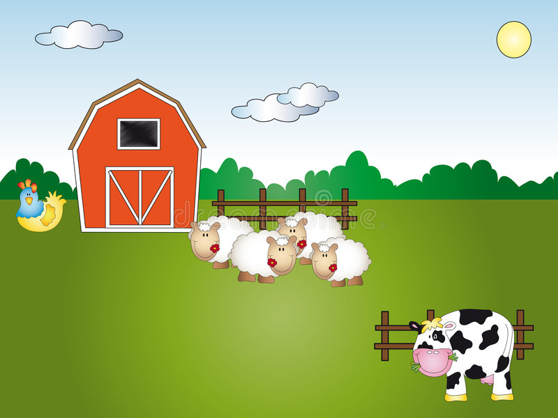 Het dierlijke beeldverhaal van het landbouwbedrijf royalty-vrije illustratie