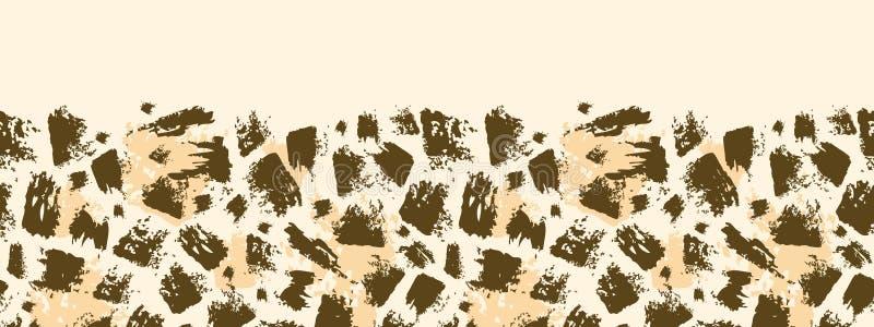 Het dierlijke horizontale naadloze patroon van de borstelslag vector illustratie