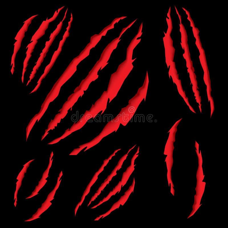 Het dierlijke Klauwen Krassen De tijger of draagt Paw Scratching op Zwarte B vector illustratie