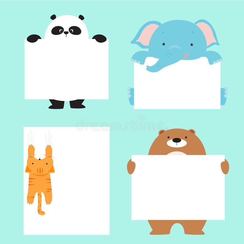 Het dierlijke Malplaatje van de Holdings Lege Banner stock illustratie