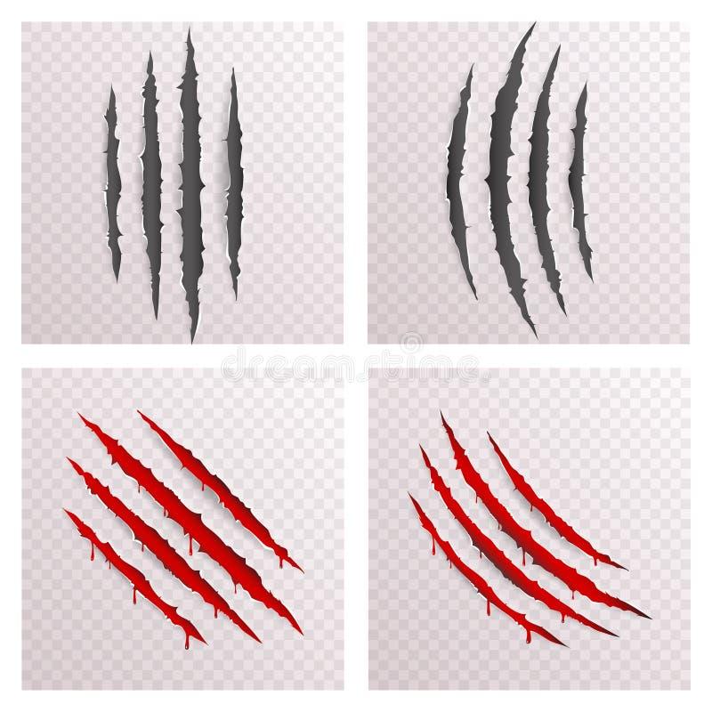 Het dierlijke Monster krabt Bloed het Aftappen Krassen Gescheurde Materiële Malplaatje Vastgestelde Transparante Spot Als achterg vector illustratie