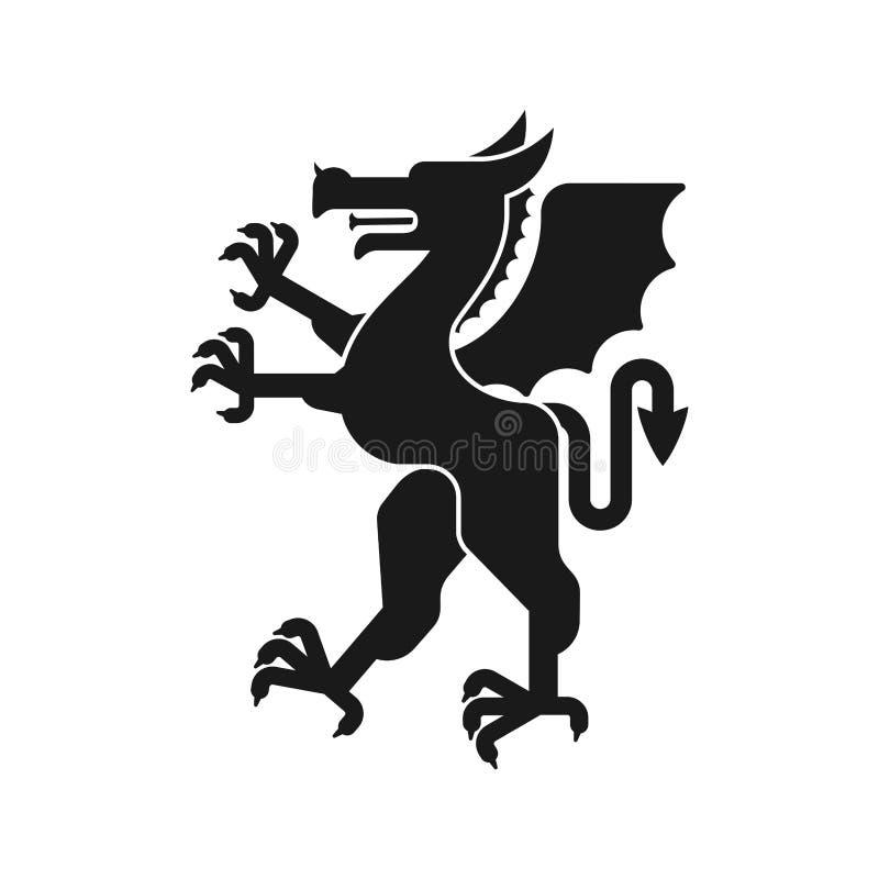 Het dierlijke silhouet van Dragon Heraldic Fantastisch Dierenmonster voor royalty-vrije illustratie