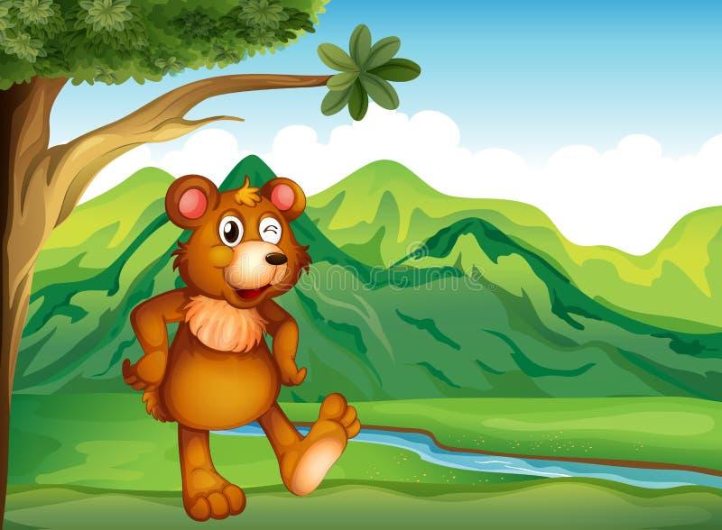 Het dierlijke spelen dichtbij de berg royalty-vrije illustratie