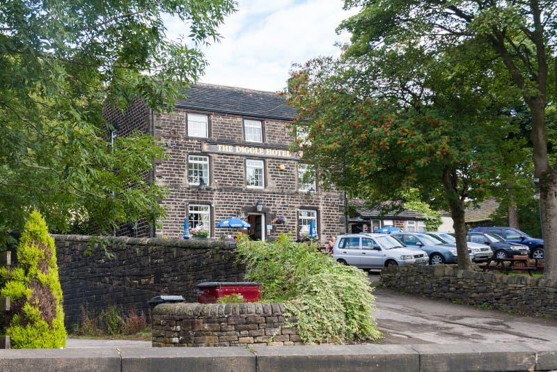Het Diggle-Hotel, Diggle, Oldham, Lancashire, Engeland, het Verenigd Koninkrijk stock afbeeldingen